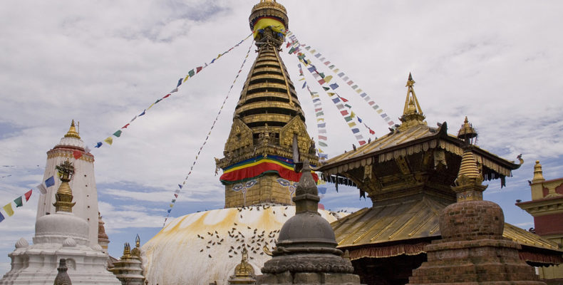 I went to the Swayambhunath temple again today. The sky was just clearing after a full night and half a day of rain.