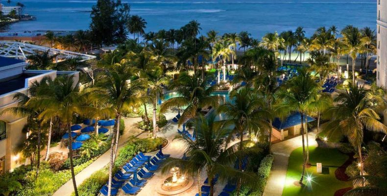 Ritz Carlton San Juan, outdoor space, night lighting
